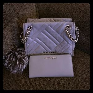 Michael Kors Grey Quilted leather 3 piece Purse